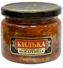 "Fried Kilka in Tomato Sauce ""Riga Gold"" Glass Jar, 9.88 oz / 280 g"