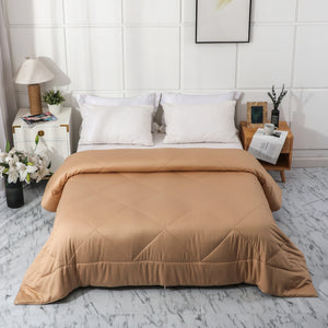 100% Natural Colored Plant-Based Cotton Quilted Comforter (Golden Brown)