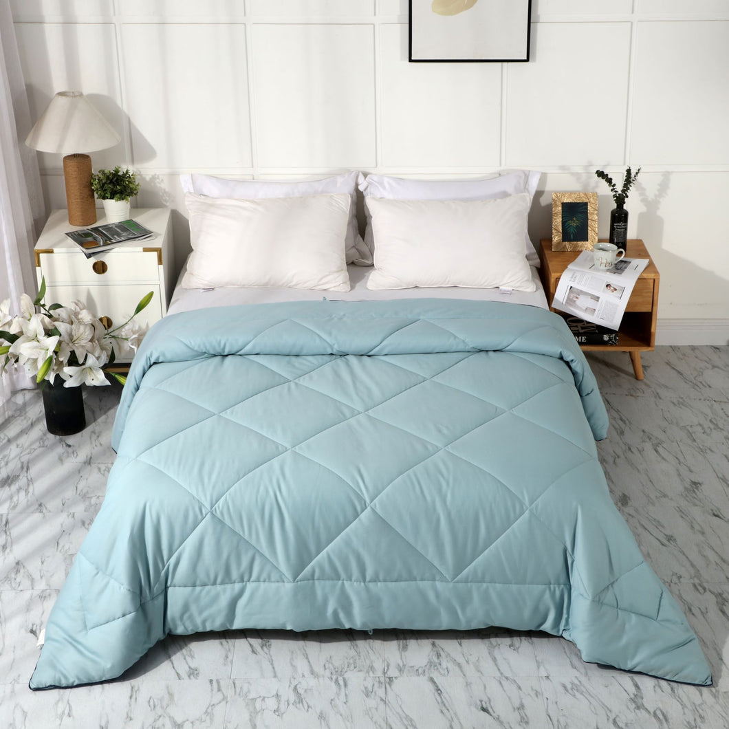 All Season 100% Cotton Quilted Comforter (Miami Blue)