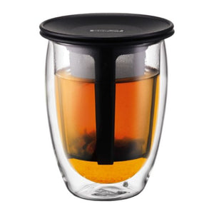 BODUM Tea For One Double wall glass, 0.35 l, 12 oz and tea strainer, Black