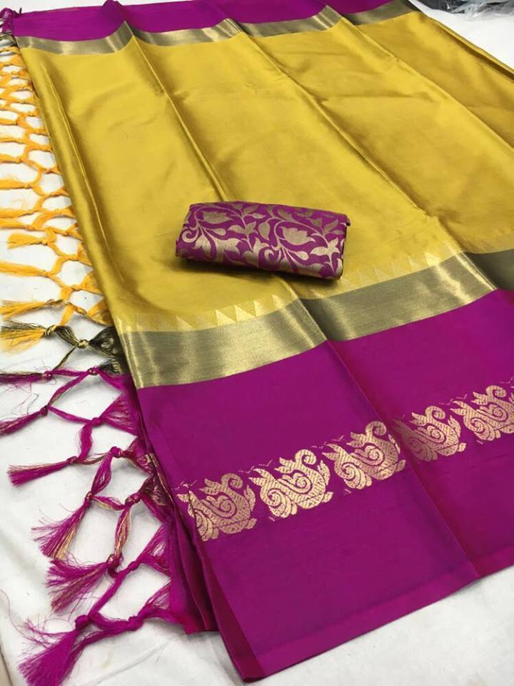 Didi Yellow & Pink Adoring Soft Cotton Silk Saree With Blouse Piece ( Duck-Yellow-Pink )