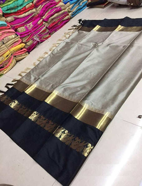 Didi Beige & Black Exclusive Soft Cotton Silk Saree With Blouse Piece ( Duck-Beige-Black )