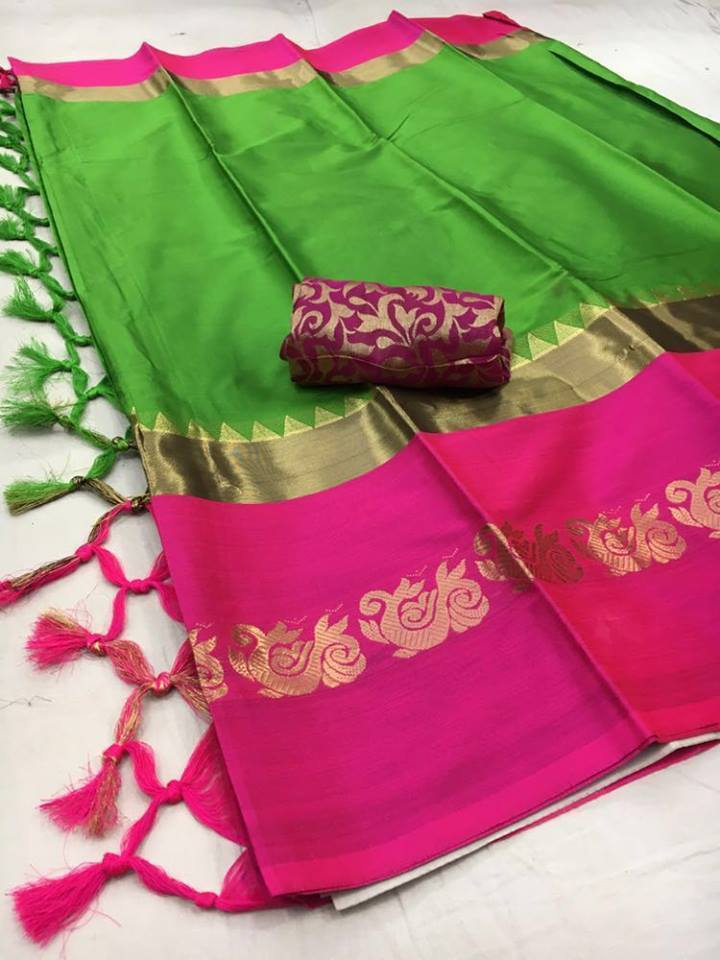 Didi Green & Pink Eye-Catching Soft Cotton Silk Saree With Blouse Piece ( Duck-Green-Pink )