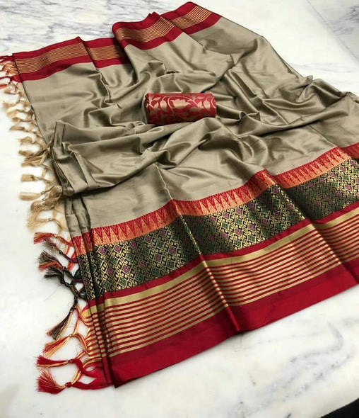 Didi Beige & Red Attractive Soft Cotton Silk Saree With Blouse Piece ( Meena-Beige-Red )