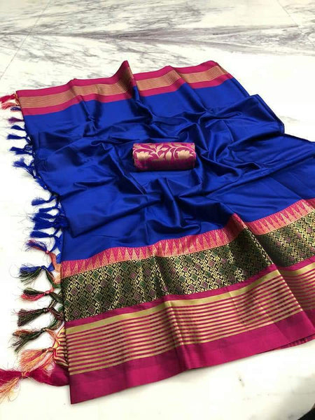 Didi Blue & Pink Alluring Soft Cotton Silk Saree With Blouse Piece ( Meena-Blue-Pink )
