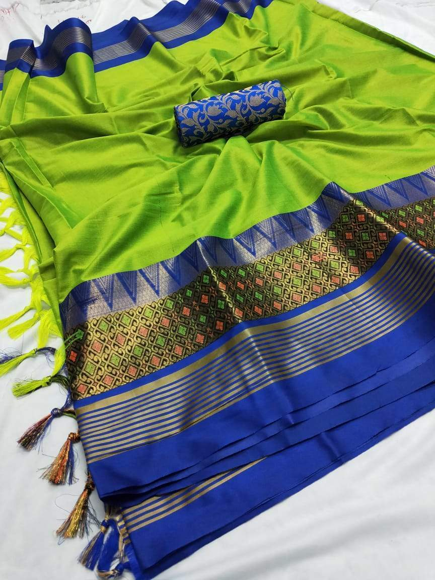 Didi Green & Blue Fabulous Soft Cotton  Silk Saree With Blouse Piece ( Meena-Green-Blue )