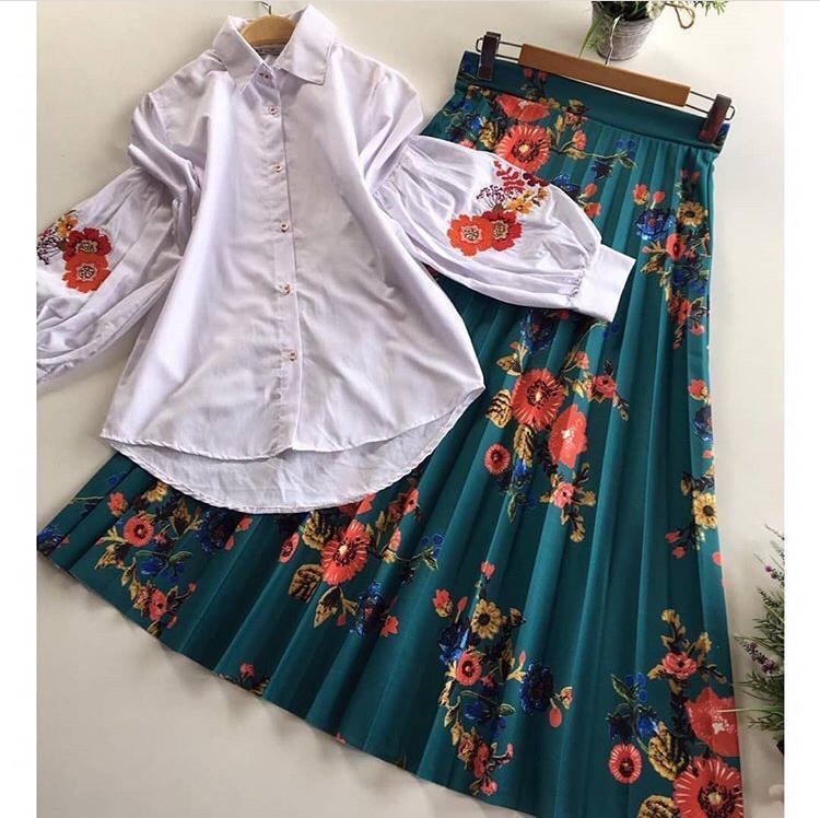 Didi White & Rama Dazzling Skirt with Top ( PS-711-Rama )