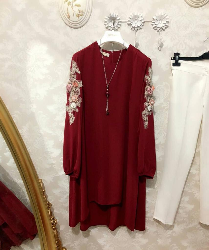 Didi Maroon & White Pleasent Pent with Top ( PS-718-Maroon )
