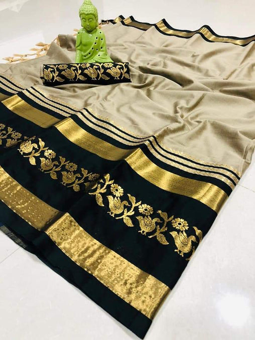 Didi Beige & Black Innovative Soft Cotton Silk Saree With Blouse Piece ( Chidiya-Beige-Black )