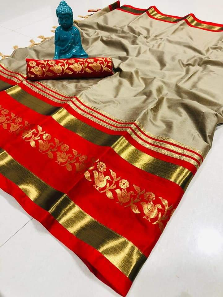 Didi Beige & Red Adorable Soft Cotton Silk Saree With Blouse Piece ( Chidiya-Beige-Red )