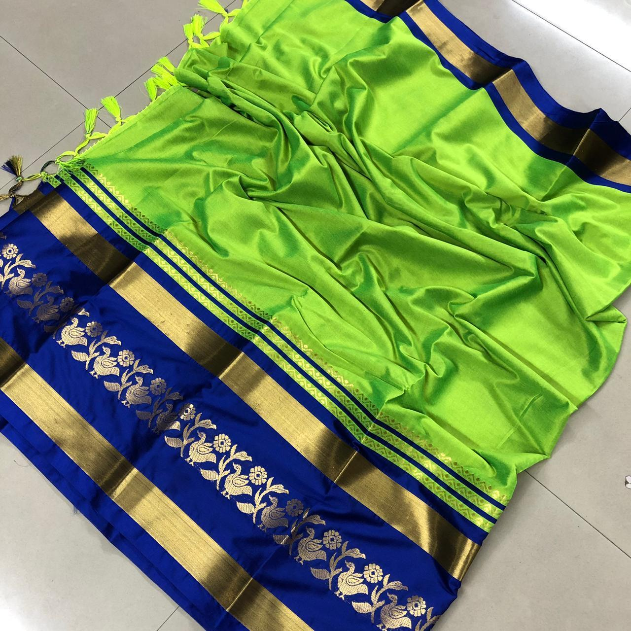 Didi Green & Blue Eye-Catching Soft Cotton Silk Saree With Blouse Piece ( Chidiya-Green-Blue )
