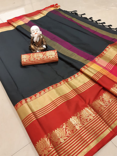Didi Black & Red Exclusive Soft Cotton Silk Saree With Blouse Piece ( Lotus-Black-Red )