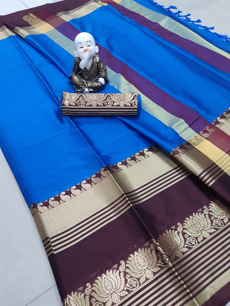Didi Blue & Brown Innovative Soft Cotton Silk Saree With Blouse Piece ( Lotus-Blue-Brown )