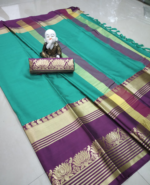 Copy of Didi Rama & Wine Stylish Soft Cotton Silk Saree With Blouse Piece ( Lotus-Rama-Wine)