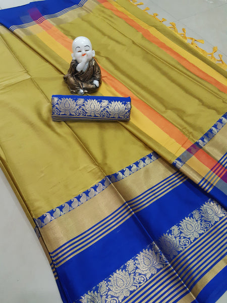 Copy of Didi Yellow & Blue Eye Catching Soft Cotton Silk Saree With Blouse Piece ( Lotus-Yellow-Blue )