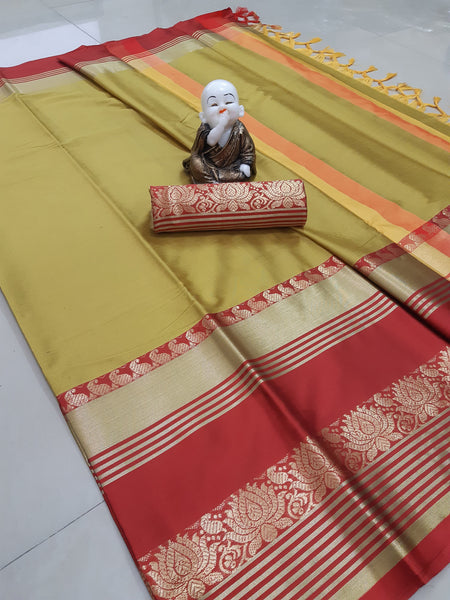 Copy of Didi Yellow & Red Gorgeous Soft Cotton Silk Saree With Blouse Piece ( Lotus-Yellow-Red )