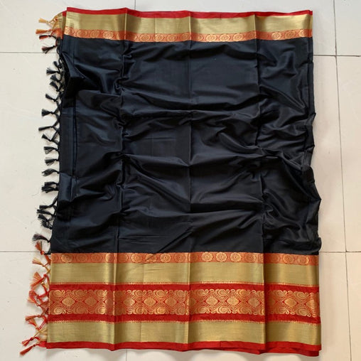 Didi Black Adoring Soft Cotton Silk Saree With Blouse Piece ( Roshni-Black )
