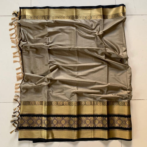 Didi Beige & Black Innovative Soft Cotton Silk Saree With Blouse Piece ( Roshni-Beige-Black )