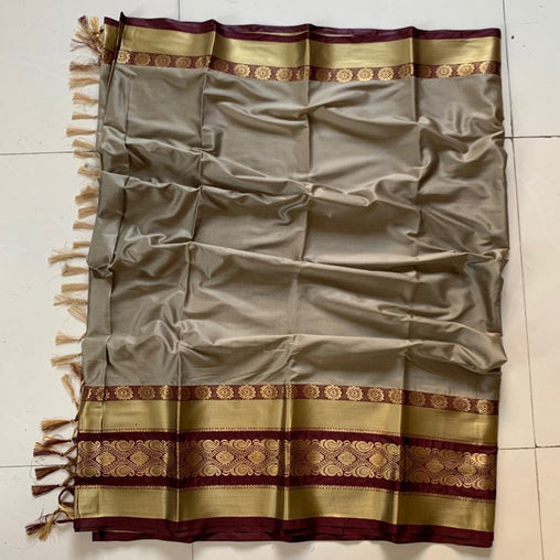 Didi Beige & Brown Impressive Soft Cotton Silk Saree With Blouse Piece ( Roshni-Beige-Brown )