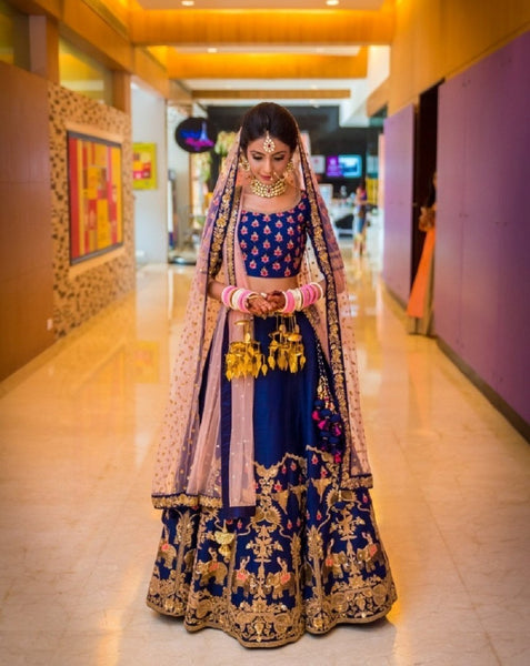 Didi Blue & Light Pink Innovative Semi-Stitched Lehenga Choli With Dupatta (SF-102)