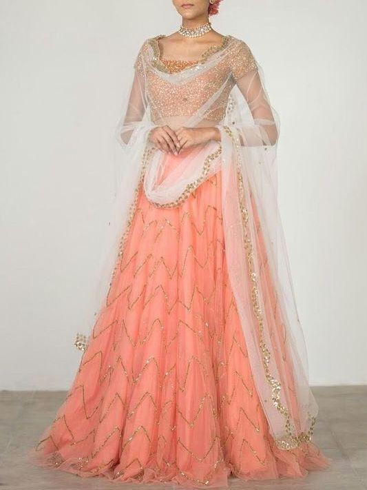 Didi Peach Fashionable Semi-Stitched Lehenga Choli With Dupatta (SF-106)
