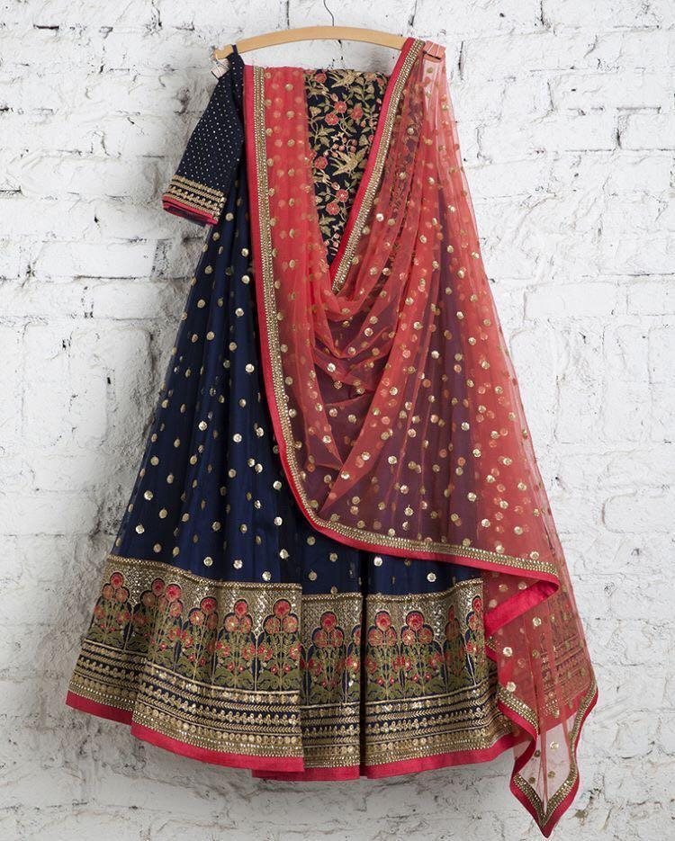 Didi Navy Blue Fashionable Semi-Stitched Lehenga Choli With Dupatta (SF-110)