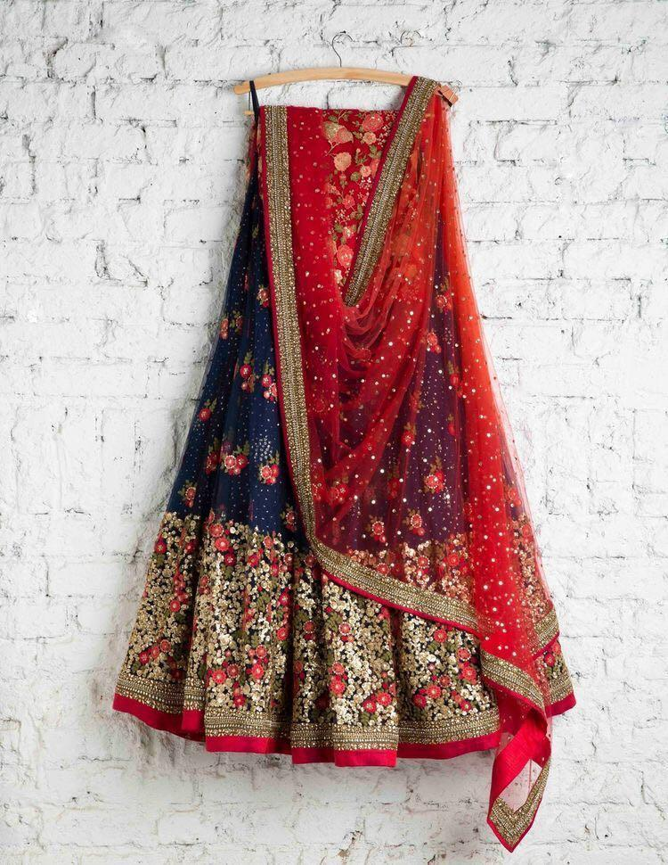 Didi Navy Blue & Red Admirable Semi-Stitched Lehenga Choli With Dupatta (SF-125)
