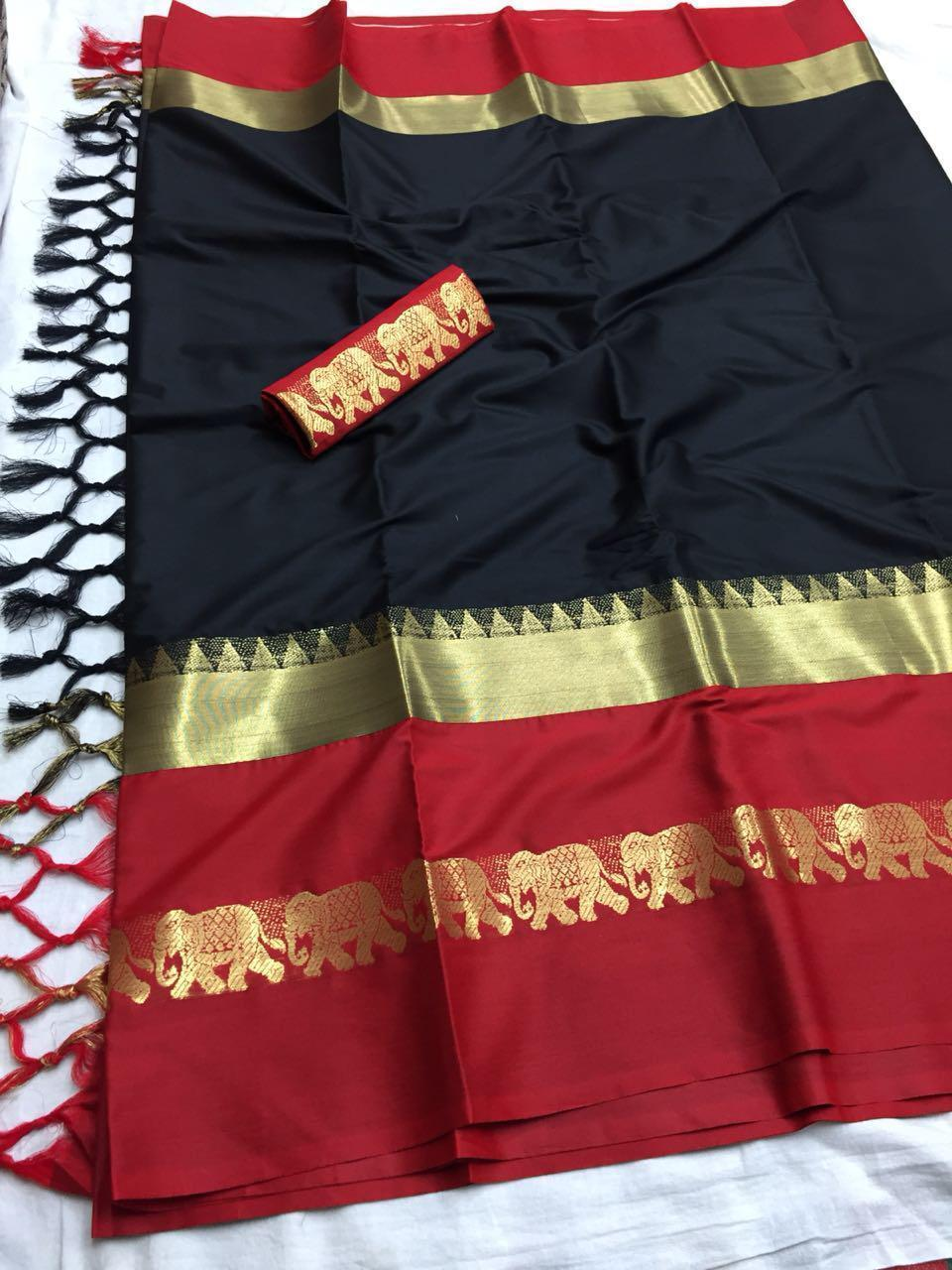 Didi Red & Black Elegant Soft Silk Saree With Blouse Piece ( Hathi-Black-Red )