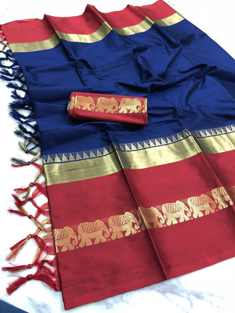 Didi Blue & Red Gorgeous Soft Silk Saree With Blouse Piece ( Hathi-Blue-Red )