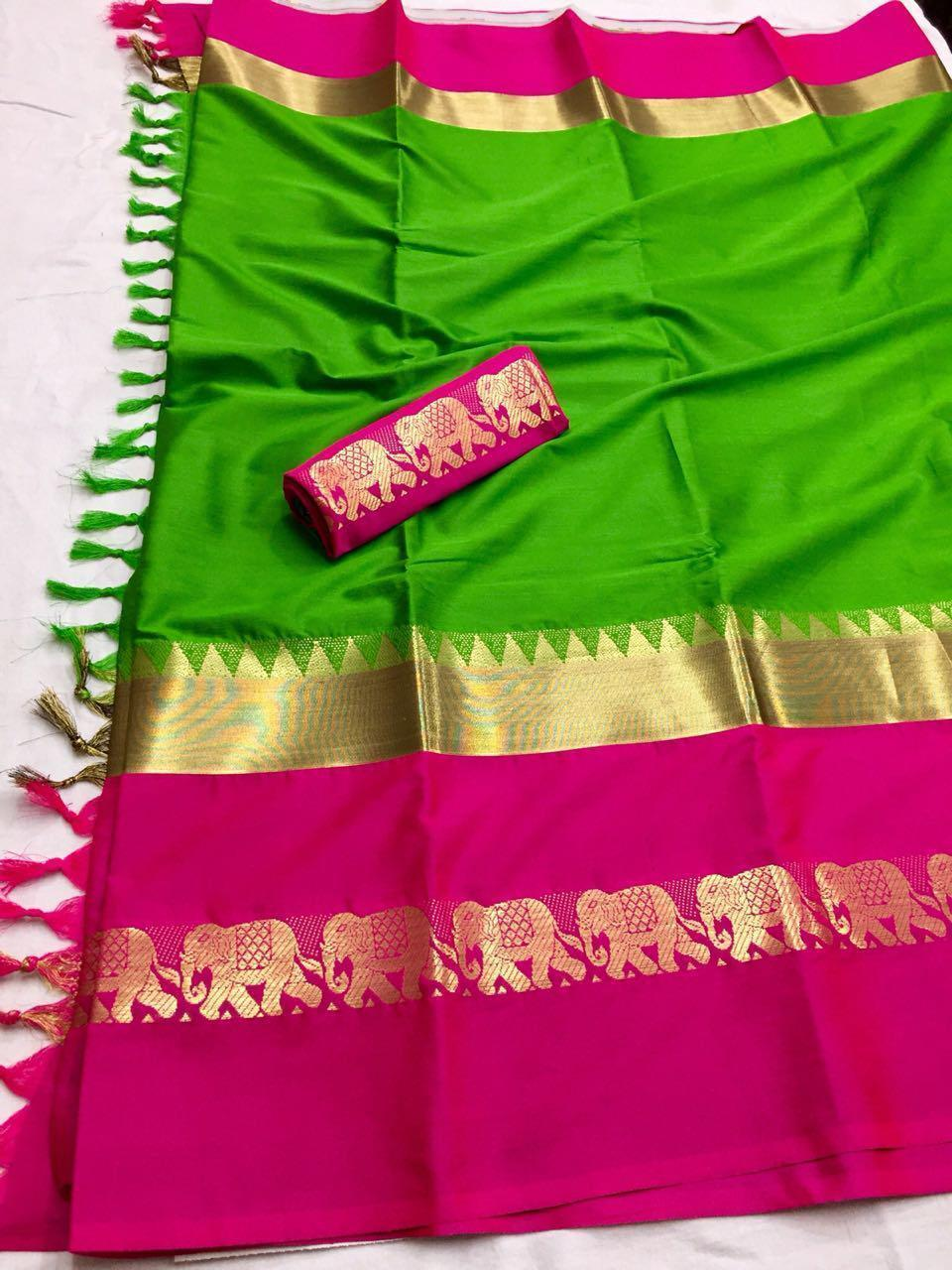 Didi Green & Pink Morden Soft Silk Saree With Blouse Piece ( Hathi-Green_Pink)