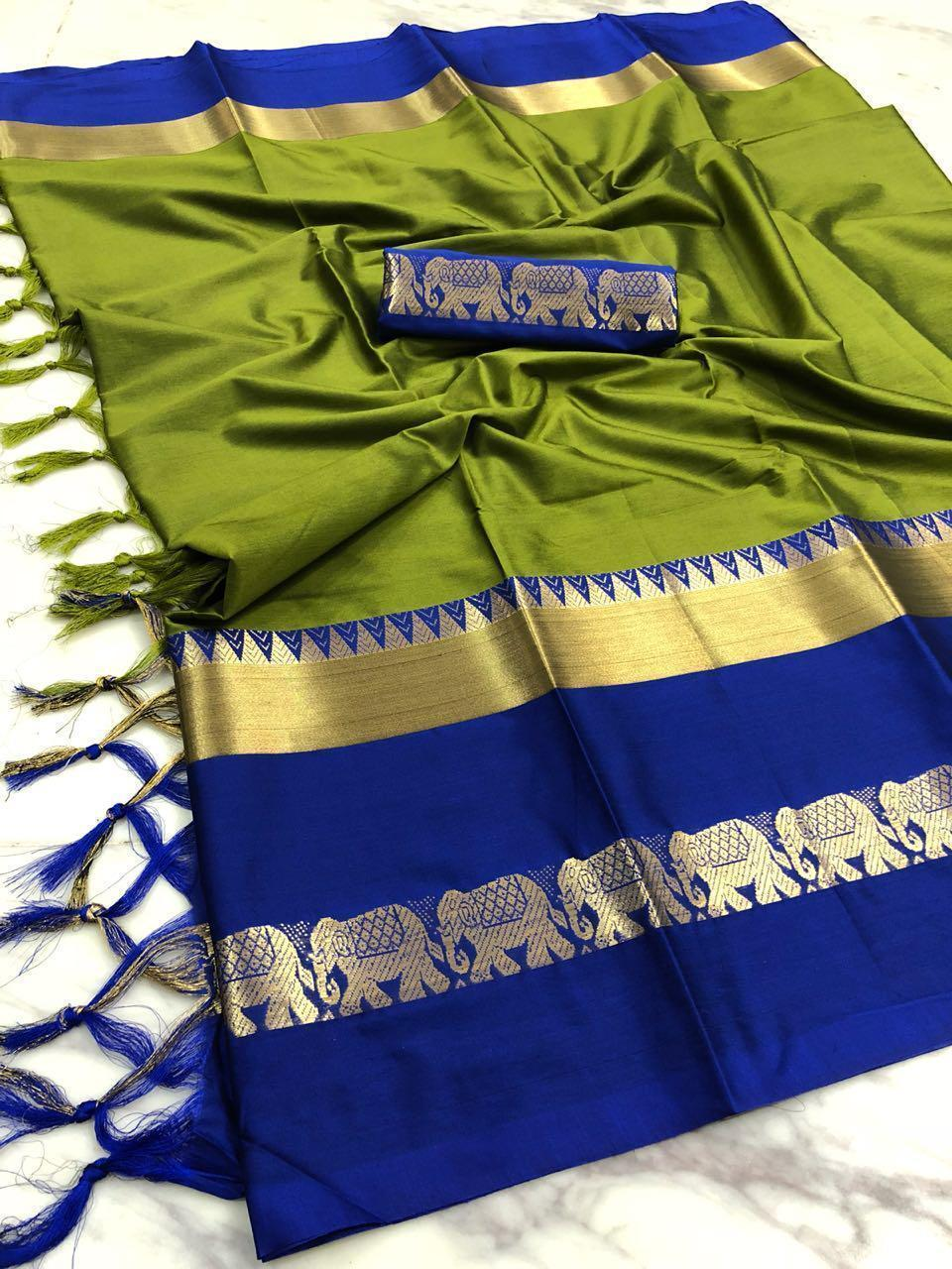 Didi Mahendi & Blue Appealing Soft Silk Saree With Blouse Piece ( Hathi-Mahendi_Blue)