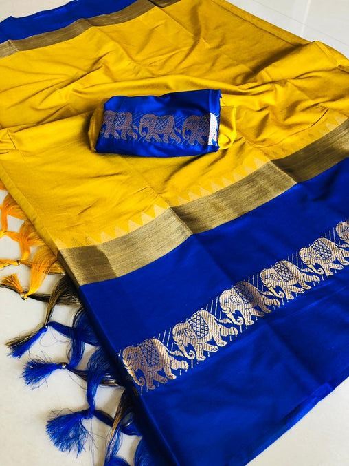 Didi Yellow & Blue Trandy Soft Silk Saree With Blouse Piece ( Hathi-Yellow-Blue )
