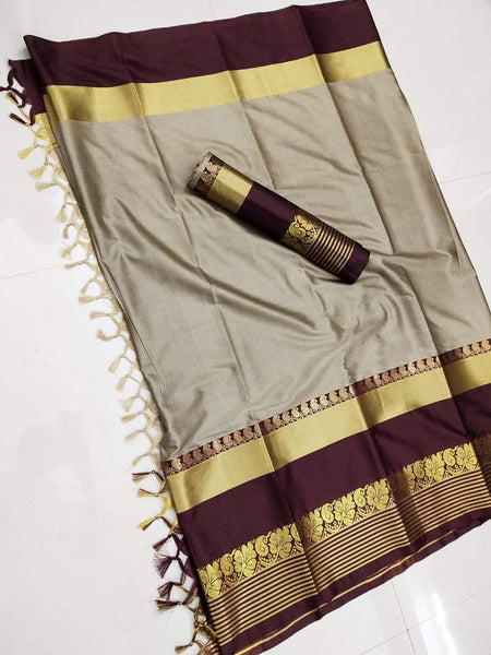 Didi Beige & Brown Outstanding Soft Cotton Silk Saree With Blouse Piece ( Shabanam-Chiku-Brown )