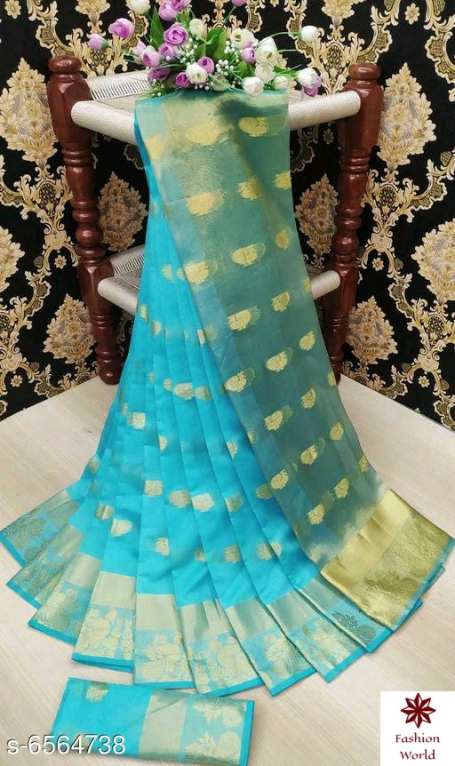 Didi Firozi Fabulous Soft Jecquard Silk Saree With Blouse Piece ( Mayur-Firozi )