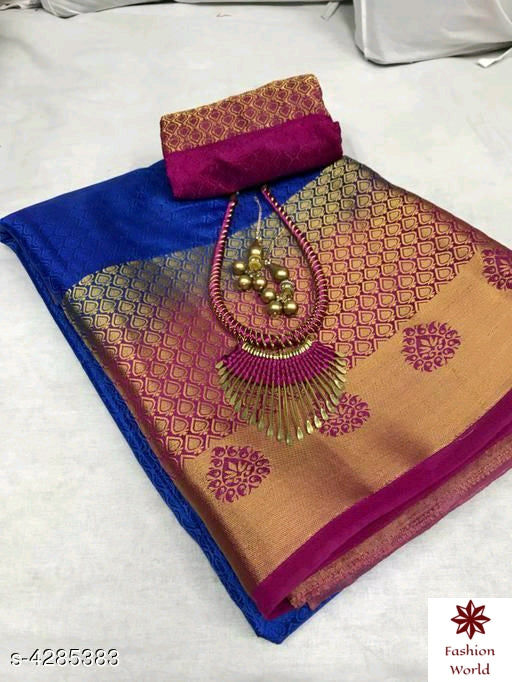 Didi Blue & Pink Blooming Soft Silk Saree With Blouse Piece ( Kanjeevaram-Blue-Pink )