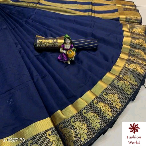 Didi Navy Blue Impressive Soft Cotton Silk Saree With Blouse Piece ( Payal-Navy Blue )