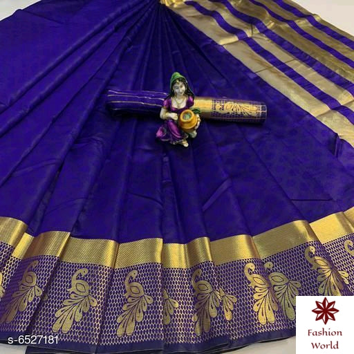 Didi Purple Stunning Soft Cotton Silk Saree With Blouse Piece ( Payal-Purple )