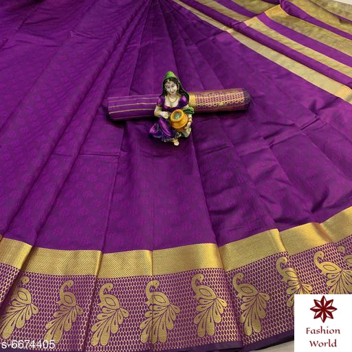 Didi Violet Classy Soft Cotton Silk Saree With Blouse Piece ( Payal-Violet )