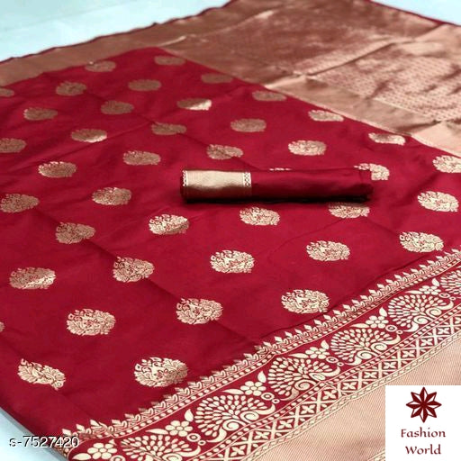 Didi Red Demanding Soft Cotton Silk Saree With Blouse Piece ( Buti-Red )
