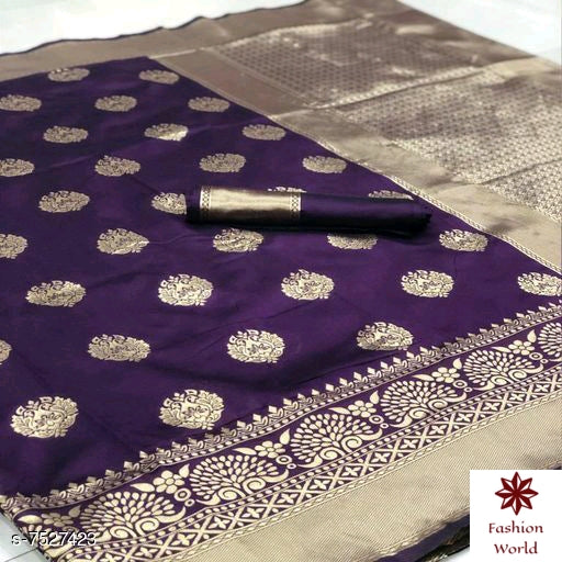 Didi Purple Impressive Soft Cotton Silk Saree With Blouse Piece ( Buti-Purple )