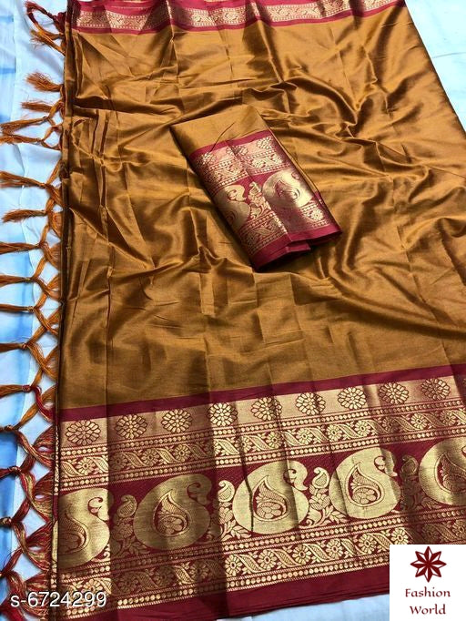 Didi Mustard & Pink Trendy Soft Cotton Silk Saree With Blouse Piece ( Megha-Mustured-Pink )
