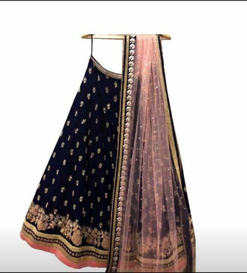 Didi Black & Peach Desirable Semi-Stitched Lehenga Choli With Dupatta (SR-141)