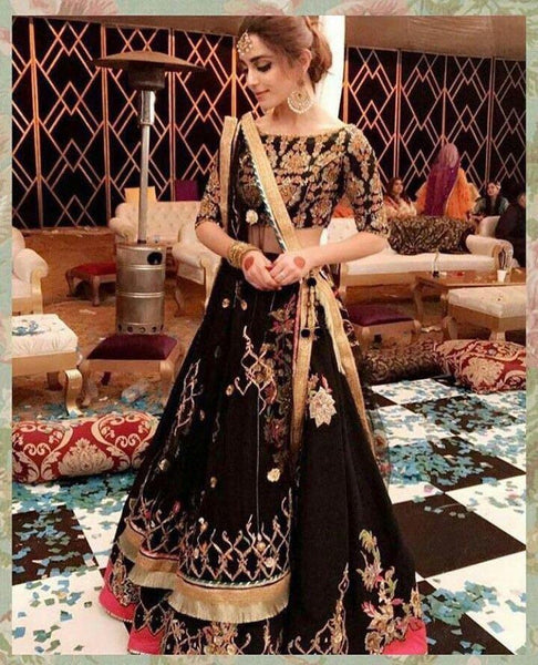 Didi Black Designer Semi-Stitched Lehenga Choli With Dupatta (SR-194)