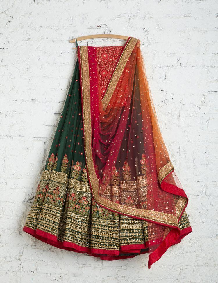 Didi Green & Red Graceful Lehenga Choli With Dupatta (SR-265)