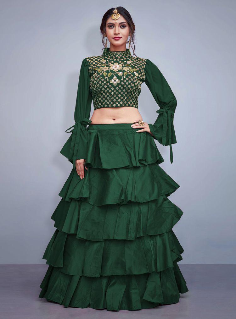 Didi Bottle Green Sizzling Lehenga Choli (SR-405)
