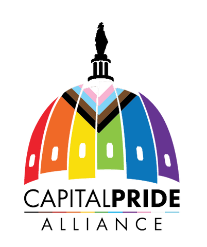 Capital Pride Alliance logo with progressive pride colors.