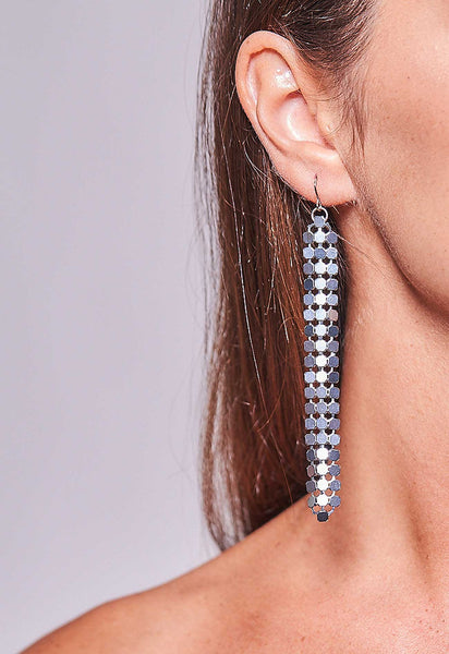 Mesh Earrings Gunmetal Long
