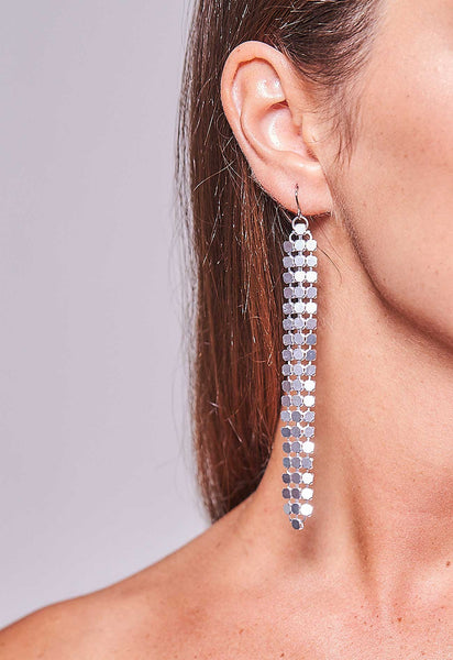 Mesh Earrings Silver Long