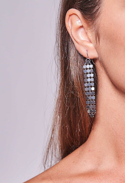 Mesh Earrings Gunmetal Short