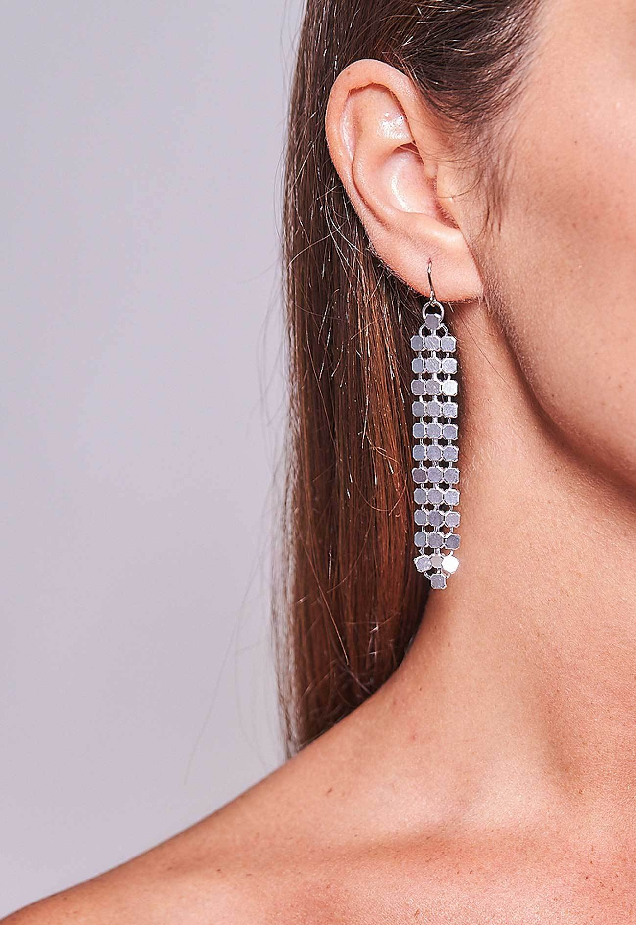 Mesh Earrings Silver Short